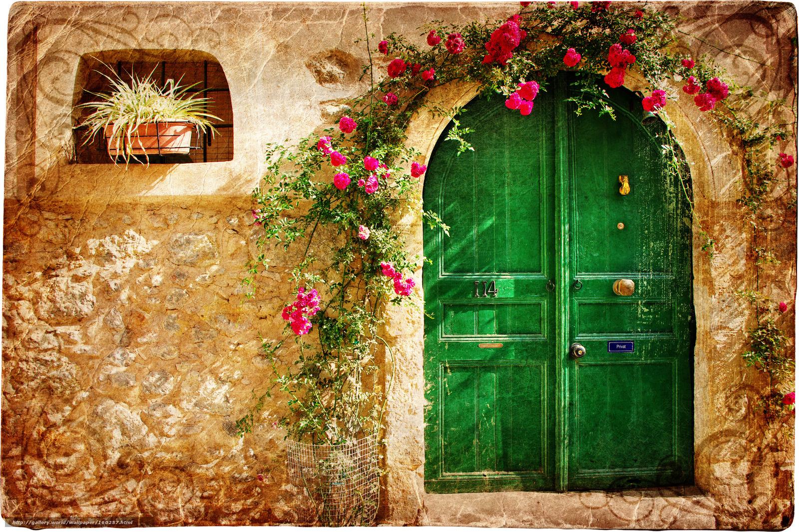 Bir taş ev kapı desen kırmızı çiçekler 3000x2000 resim