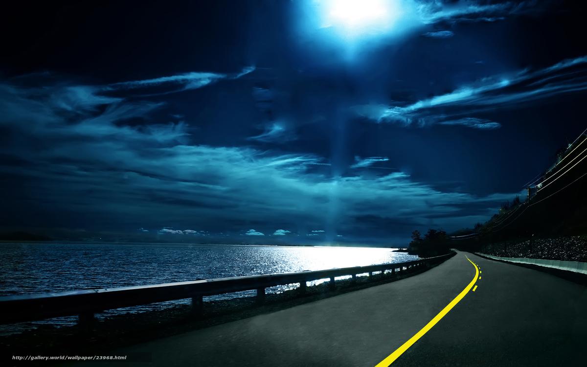 Hq yol işaretleri yol su gece yol ufuk gökyüzü bulutlar