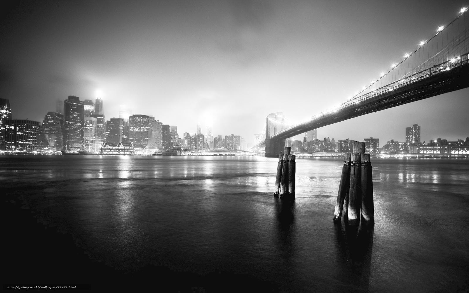 Hq gece, şehir, köprü, siyah beyaz fotoğraf, 1920x1200 resim