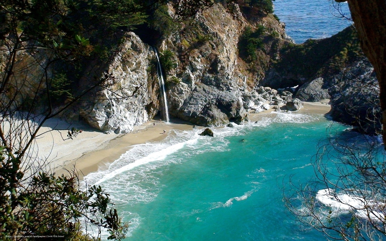 Лагуна пляж море водопад рай