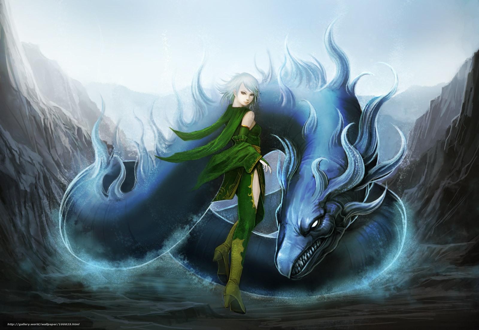 Скачать обои аниме, дракон...