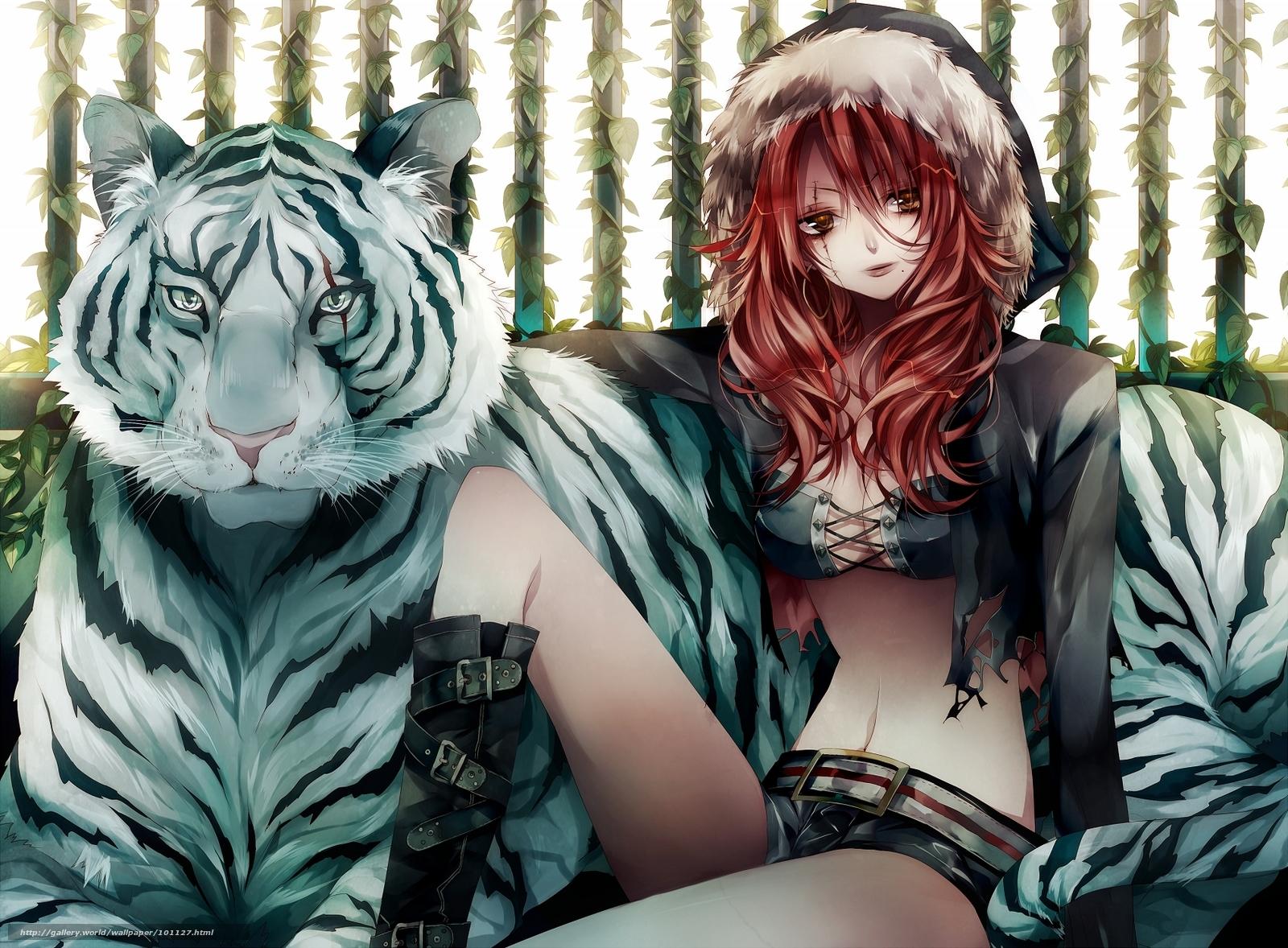 девушка, тигр, сидит, стиль.