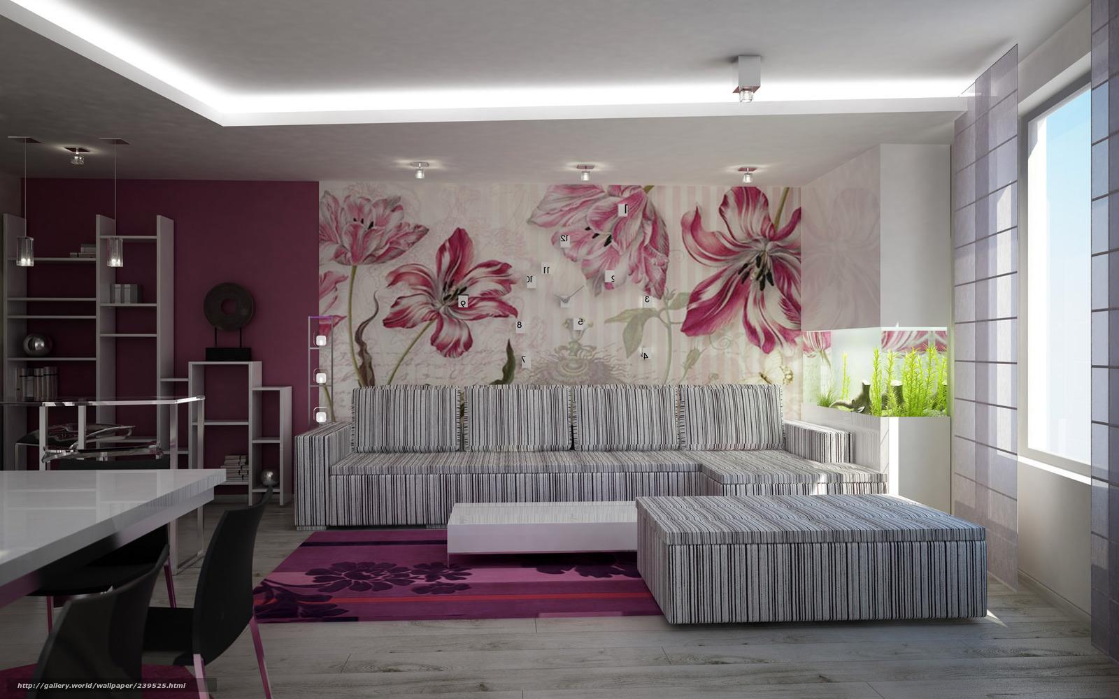 Обои Интерьер комнаты в цветах - фото.
