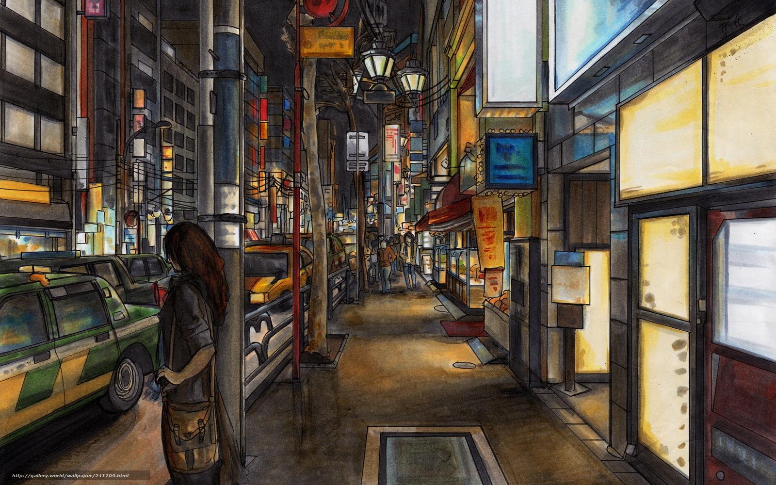 Обои картинки фото рисунок, город, люди, машины.