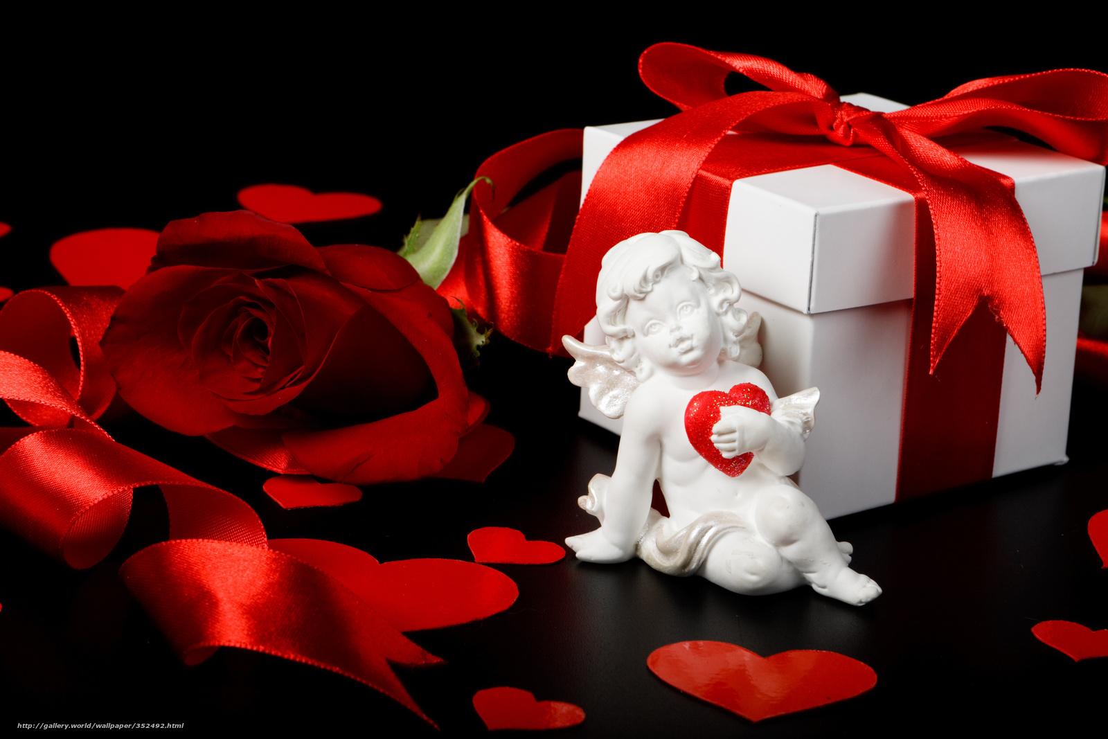 Скачать обои подарок, коробка, лента, роза бесплатно для рабочего