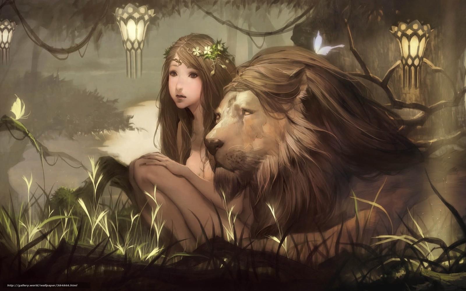 Baixar Wallpaper Arte,  menina,  leo,  gato selvagem Papis de parede grtis na resoluo 2013x1187 — quadro №384866