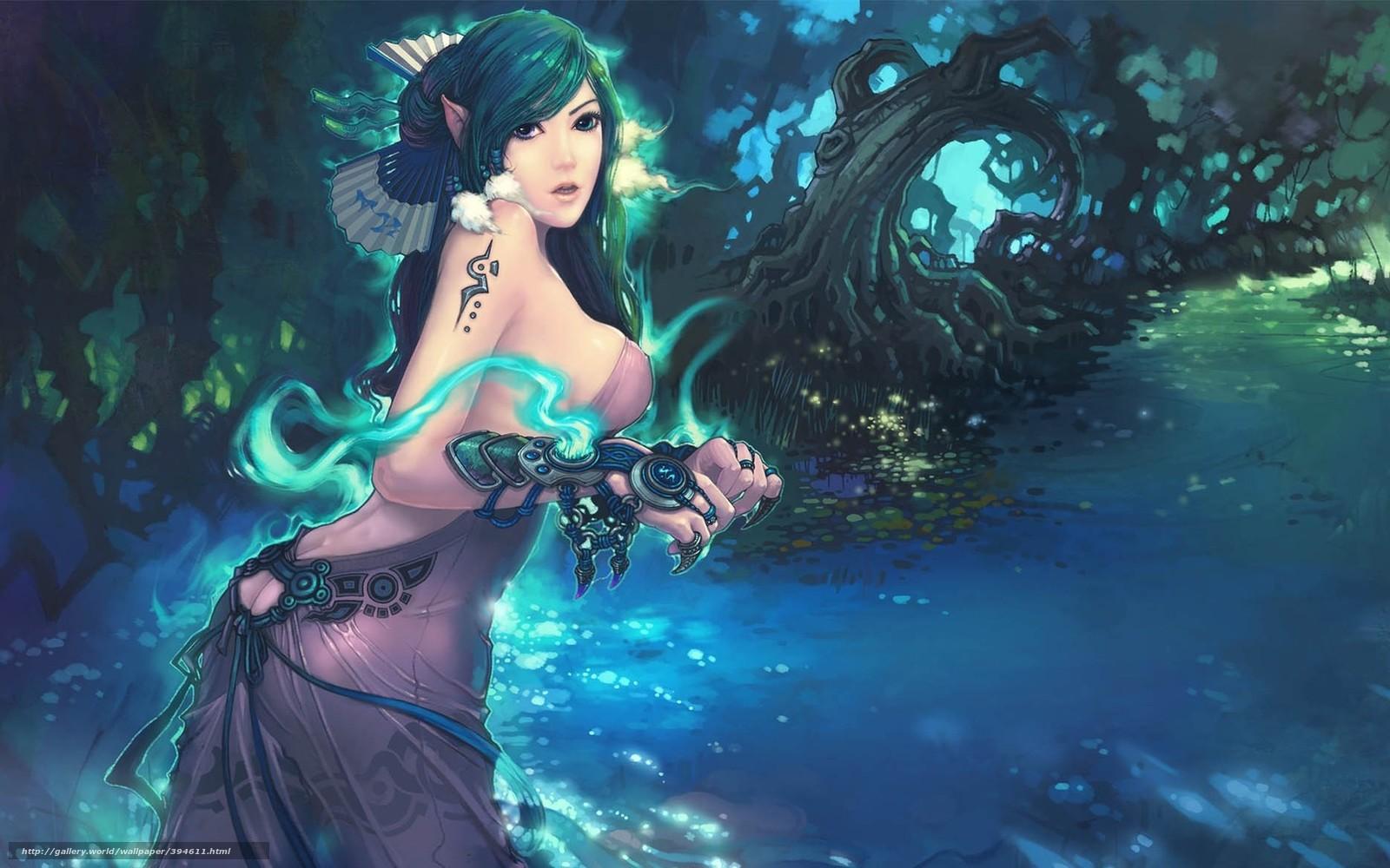Descargar gratis nia,  elfo,  magia,  bosque Fondos de escritorio en la resolucin 1920x1170 — imagen №394611