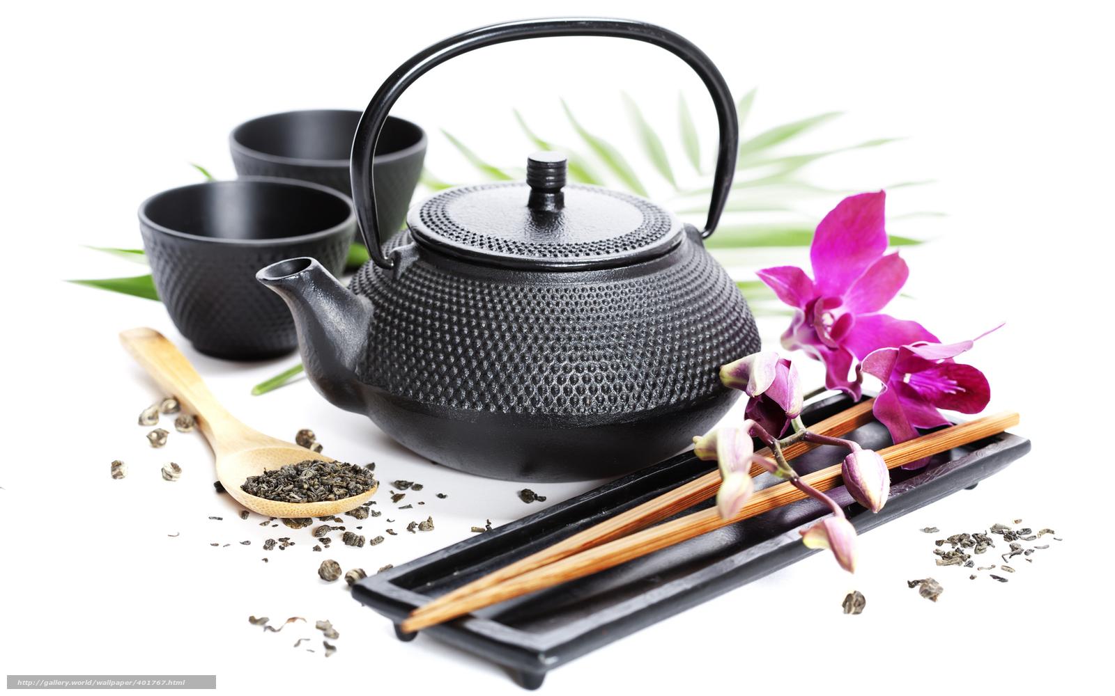 Скачать чайник, кружки, чай, цветок, палочки, фото, обои, картинка