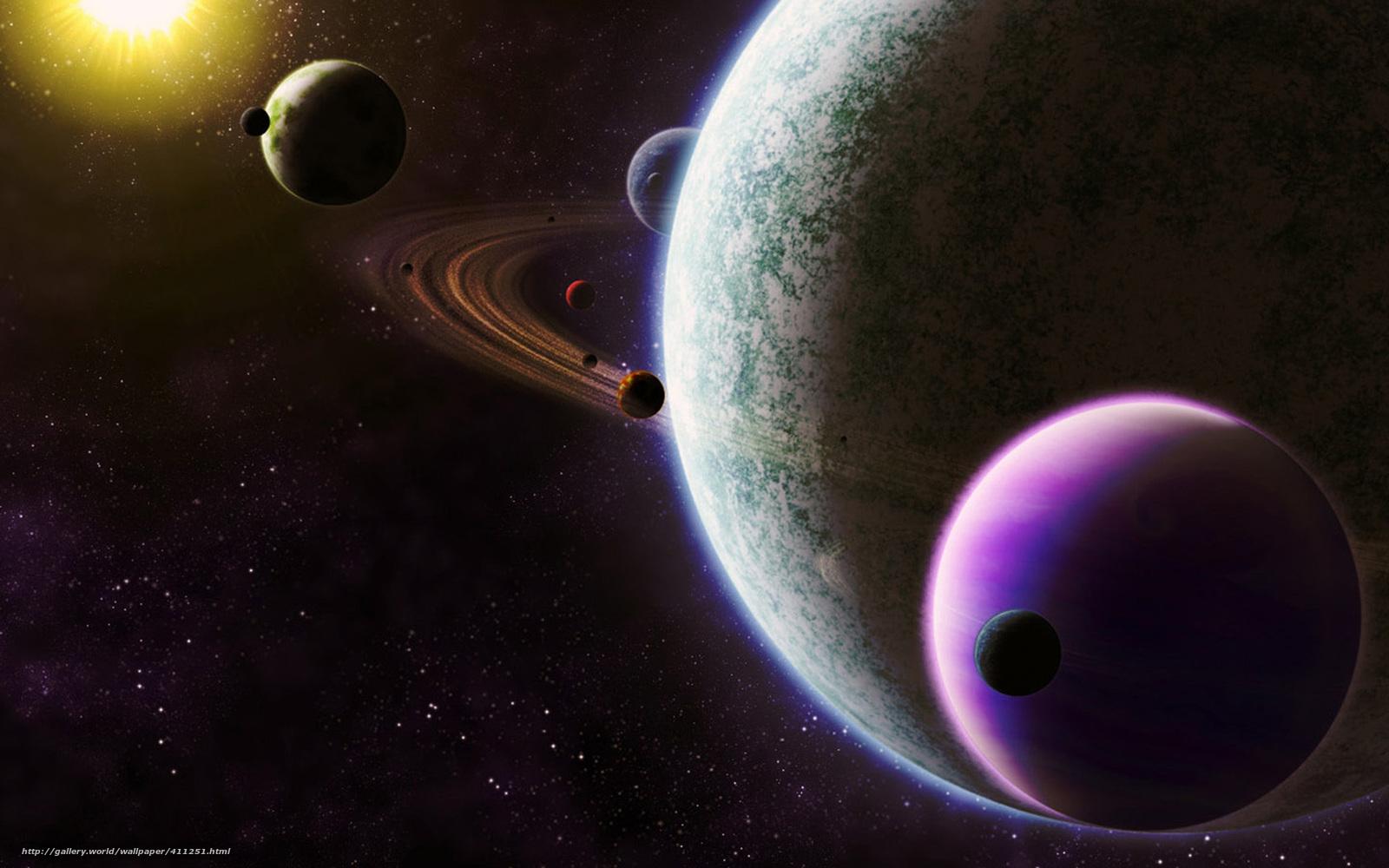 Скачать обои фото картинку на тему планета, спутники, кольца, звезда