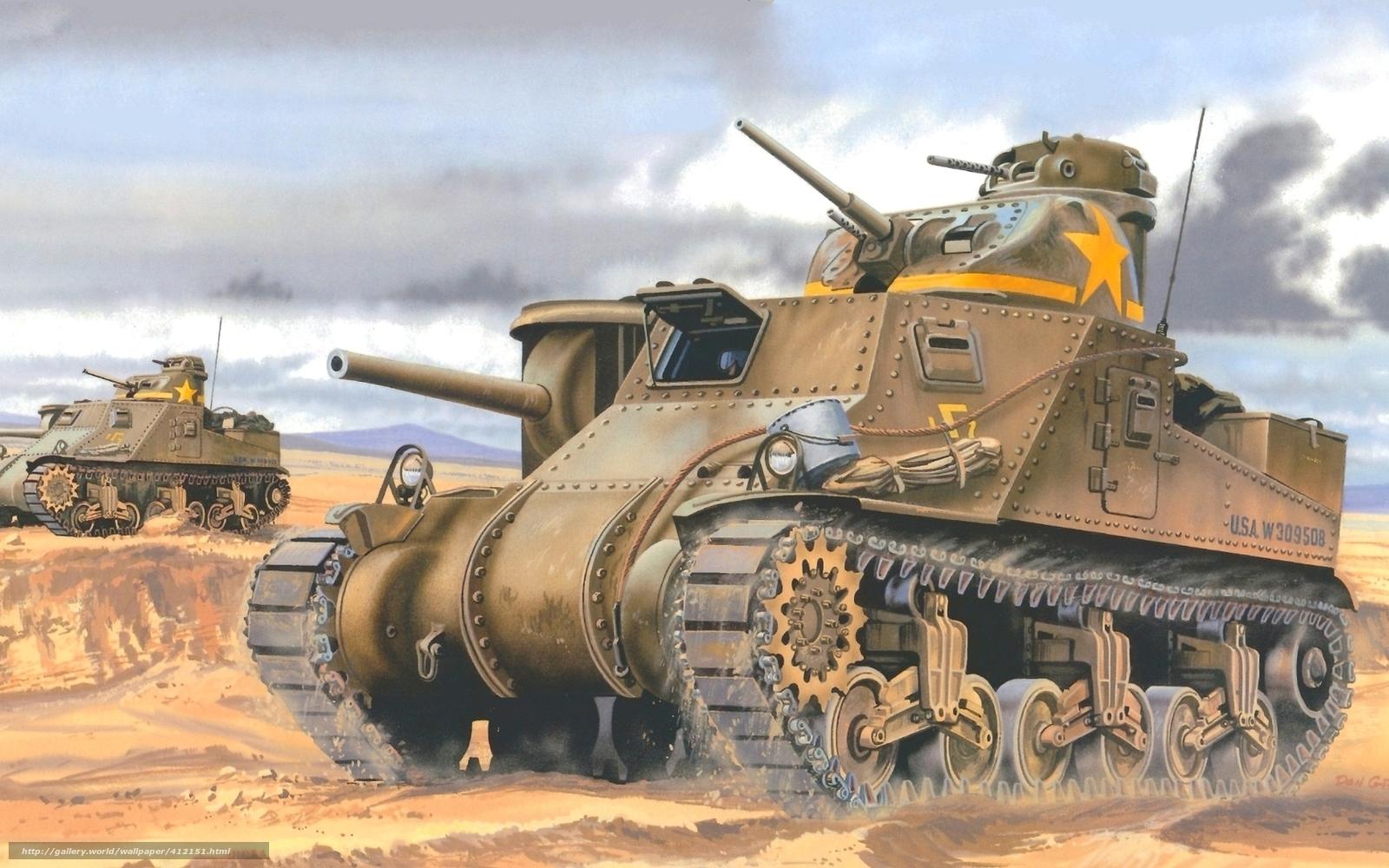Fond d'ecran dessin, medium tank, usa, la seconde guerre mondiale