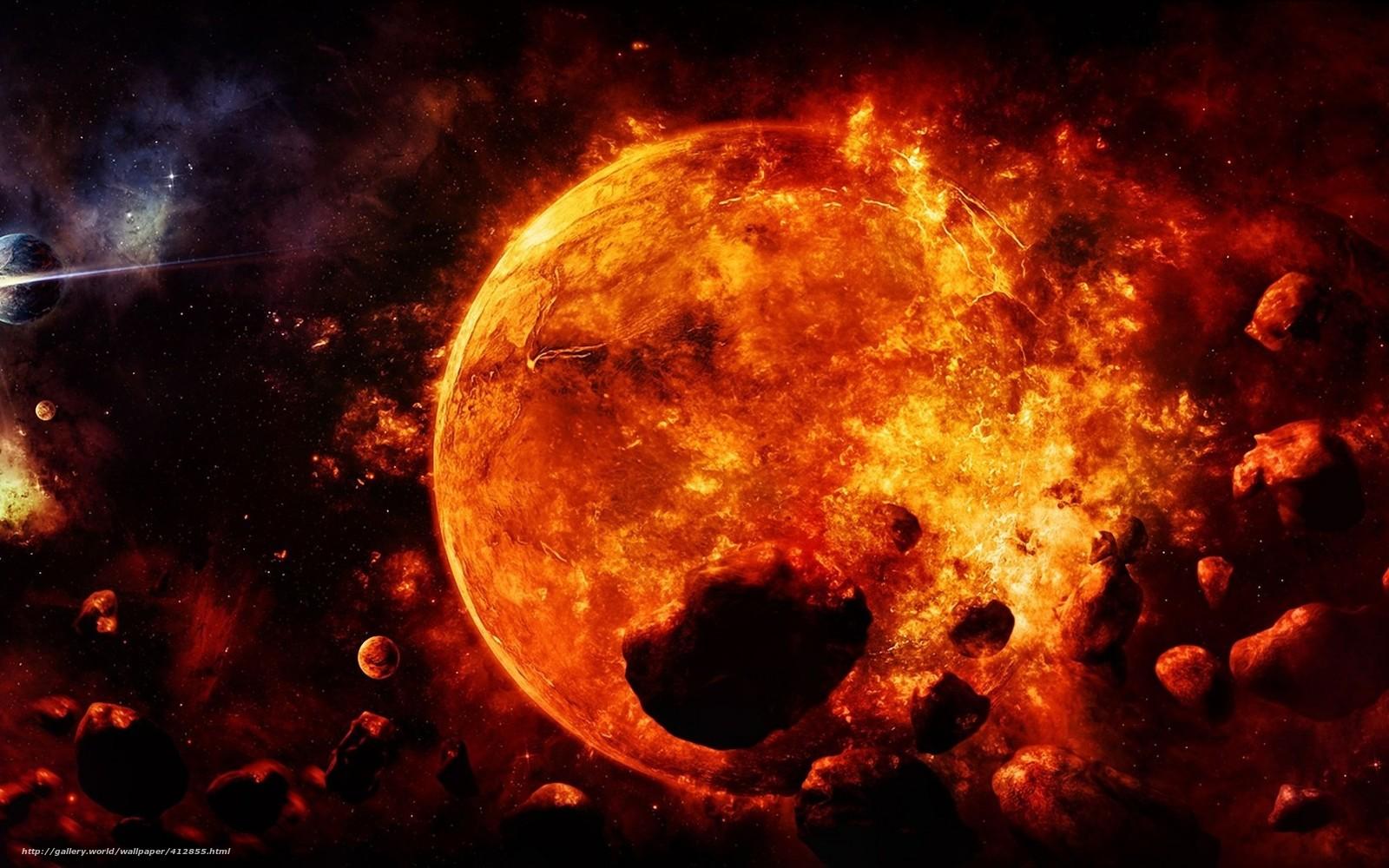 Арт космос планеты метеориты солнце