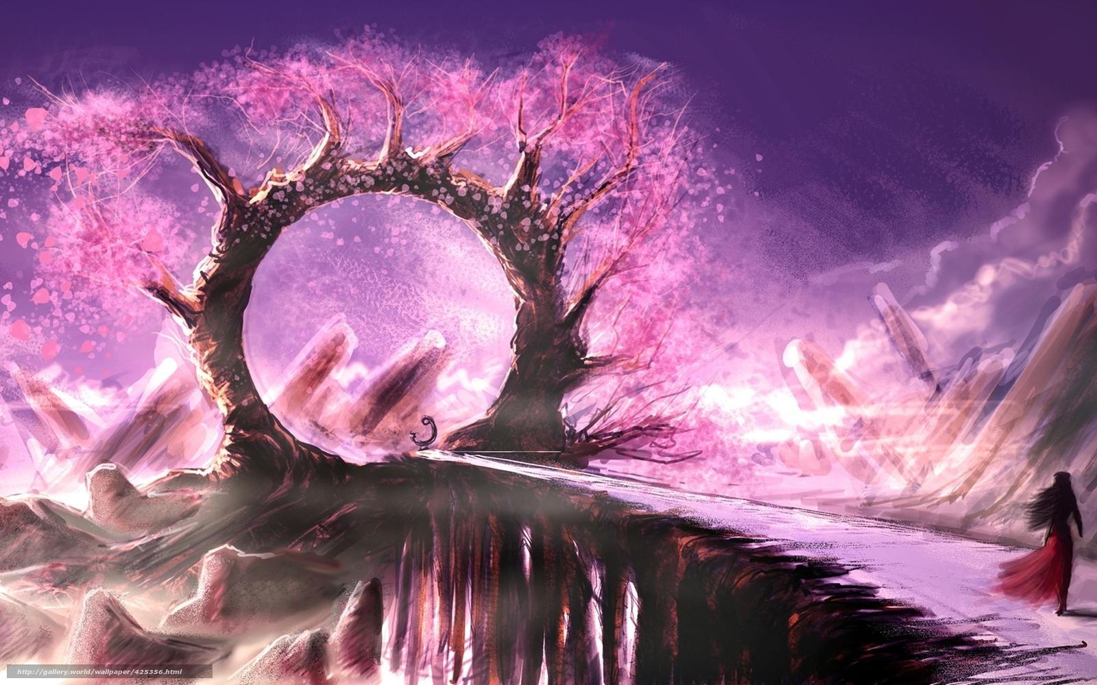 Скачать обои Девушка, мост, арка, дерево, розовое, листья, скалы, обои