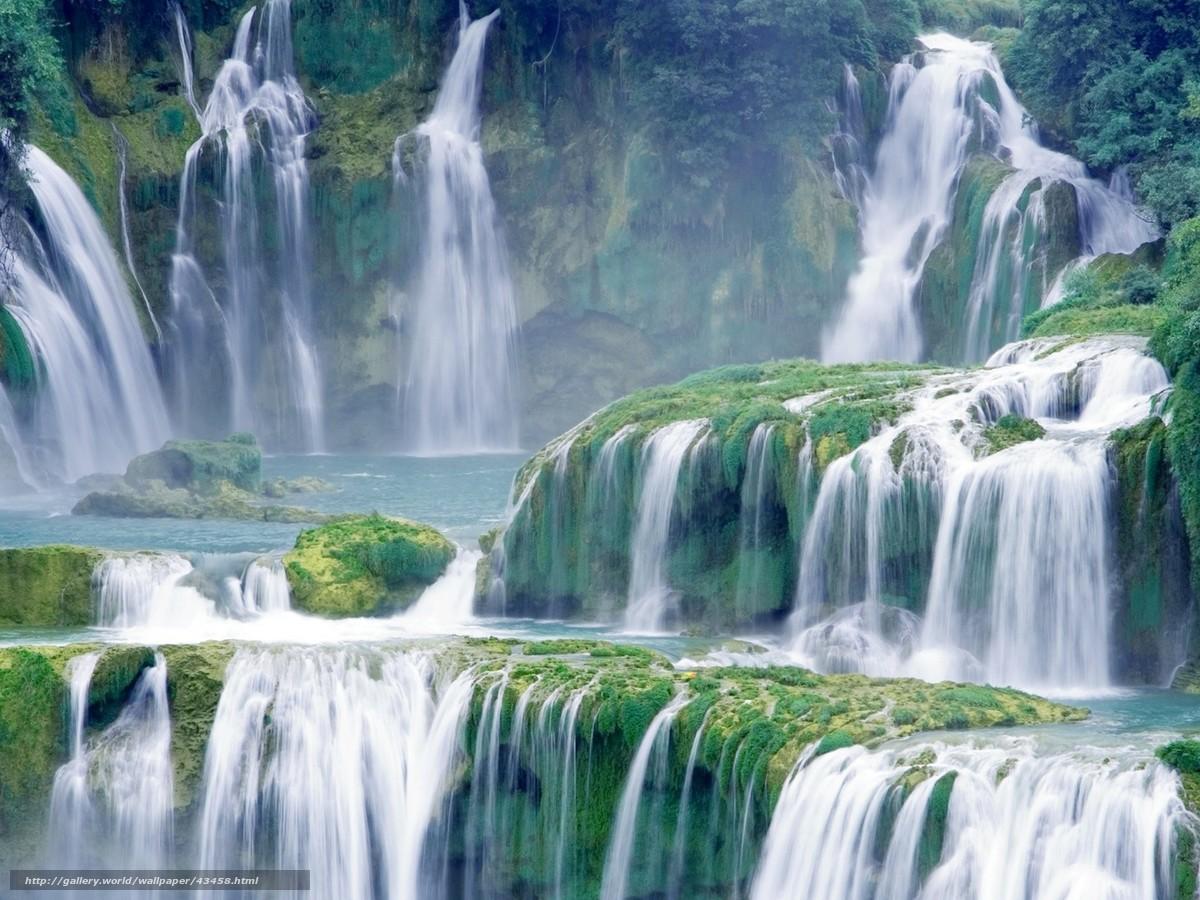Скачать обои водопад, каскад,...