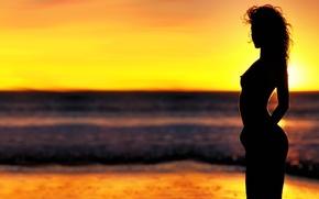 Девушки закат пляж солнце силуэт