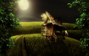 night, moon, road, field, lodge, landscape