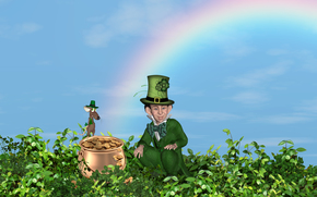 leprechaun, mouse, bowler, money, 3d
