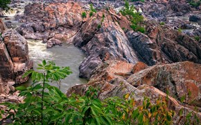 river, rocks, shrubs, landscape