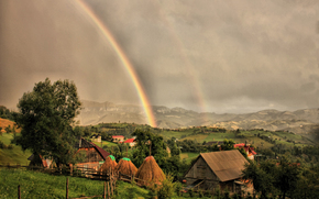 home, clouds, rainbow, landscape