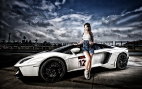 Lamborghini Aventador LP 700-4, Lamborghini Aventador, Lamborghini, Aventador, sports car, суперкар, модель, азиатка, gdefon