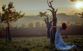 девушка, платье, деревья, осень, закат, настроение, gdefon