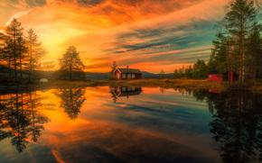 Ringerike, Norway, Рингерике, Норвегия, озеро, отражение, дома, закат, деревья, gdefon