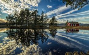 Ringerike, Norway, Рингерике, Норвегия, озеро, отражение, дом, облака, деревья, gdefon