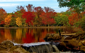 Belmont Lake, Belmont Lake State Park, Babylon, New York, Озеро Белмонт, Вавилон, штат Нью-Йорк, парк, осень, озеро, деревья, gdefon