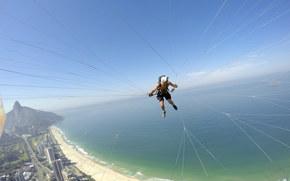 полеты на параплане, параплан, пилот, камера, шлем, нить, пляж, море, островок, горизонт, небо, Бразилия, Рио-де-Жанейро, экстремальный спорт, gdefon